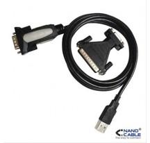 CONVERTIDOR USB A SERIE A/M-RS232 DB9/M DB25M 1.8M NANOCABLE