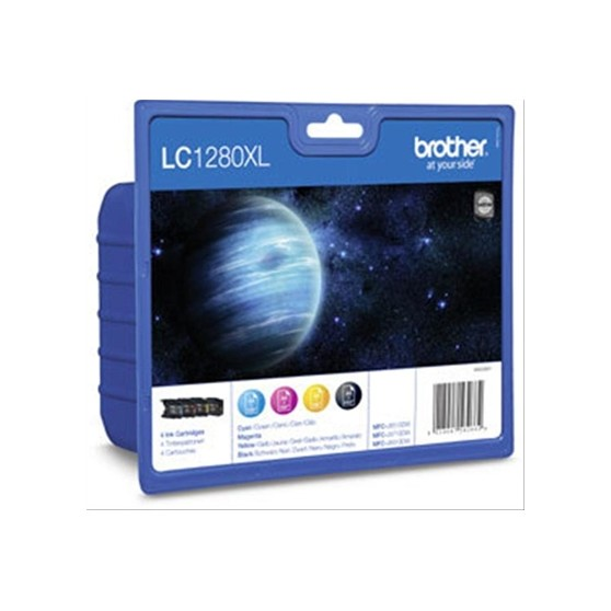 TINTA BROTHER LC1280XL NEGRO + 3 COLORES BROTHER LC1280XL
