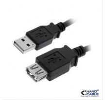 CABLE USB 2.0 A/M-A/H 1.8M NEGRO NANOCABLE